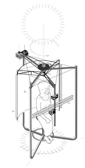 Pascal Dufaux, Esquisse, Sculpture vidéo-cinétique 1, 2005.