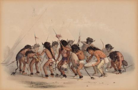 George Catlin, Buffalo Dance (Danse du bison), 1844 (Aquarelle sur papier | Collection du Musée McCord)